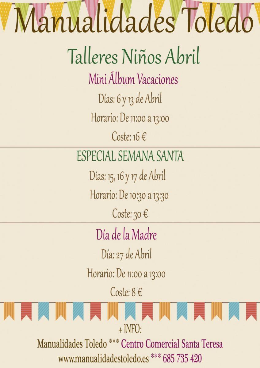 http://www.toledo.es/wp-content/uploads/2019/04/cartel-talleres-ninos-abril-2019-848x1200.jpg. Especial Semana Santa – Taller de Manualidades