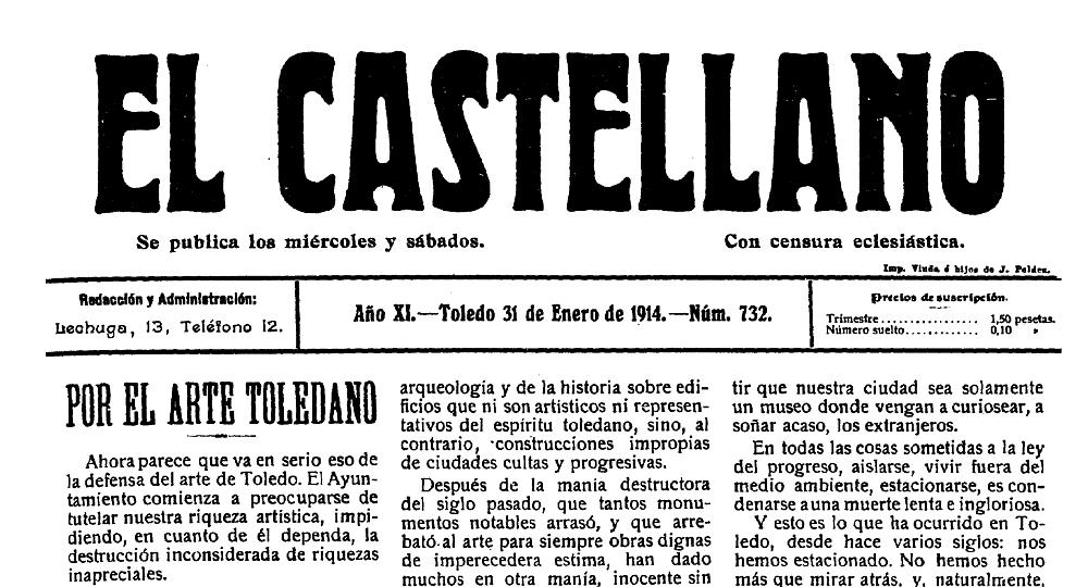 http://www.toledo.es/wp-content/uploads/2019/04/detalle-de-ejemplar-de-31-de-enero-de-1914.jpg. La colección digital del periódico toledano El Castellano (1904-1936) ya es acccesible