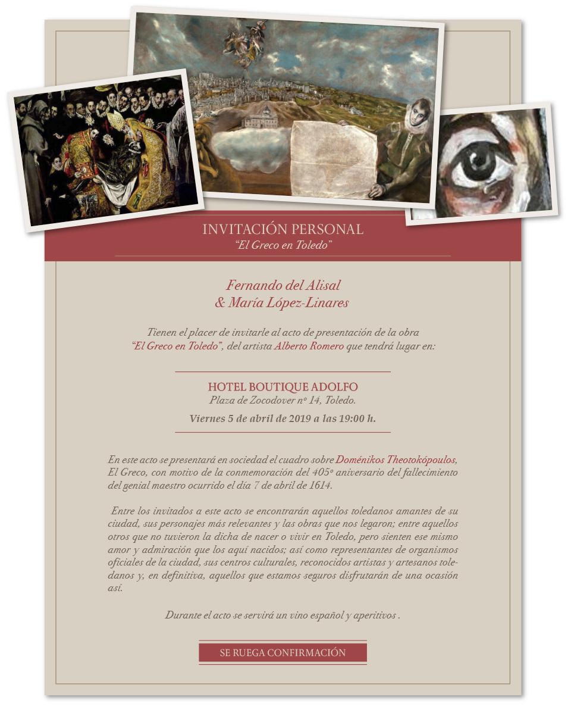 """http://www.toledo.es/wp-content/uploads/2019/04/hotel-adolfo.jpg. Presentación obra pictórica """"El Greco en Toledo"""", de Alberto Romero"""