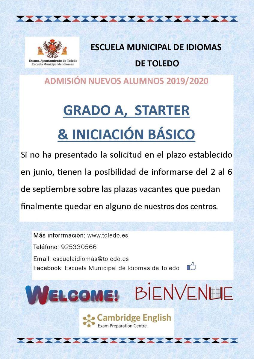 http://www.toledo.es/wp-content/uploads/2019/05/cartel-starter-a-preinscrip-2018-2019-848x1200.jpg. Escuela de Idiomas. Alumnos de nuevo ingreso, consulta en septiembre