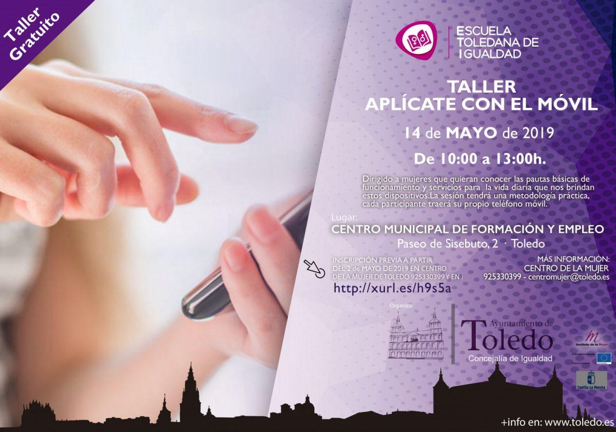http://www.toledo.es/wp-content/uploads/2019/05/eti-taller-aplicate-con-el-movil-fse-1200x841.jpg. TALLER APLÍCATE CON EL MÓVIL. ESCUELA TOLEDANA DE IGUALDAD.