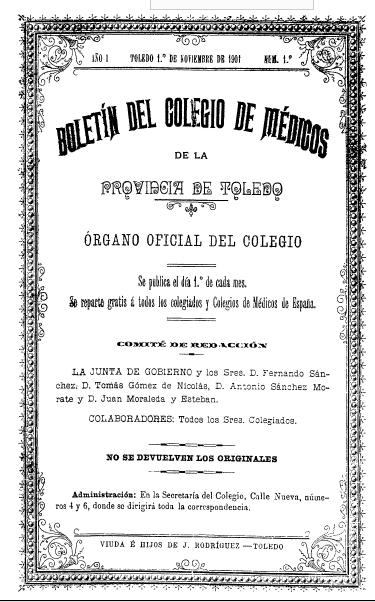 https://www.toledo.es/wp-content/uploads/2019/06/colegio-medicoas.jpg. El Archivo Municipal incorpora a su web el Boletín Oficial del Colegio de Médicos de Toledo (1901-1936)