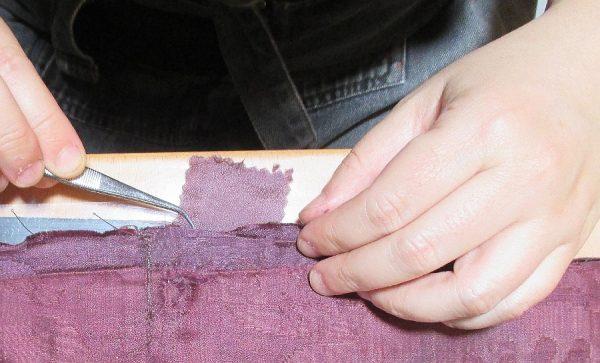 35 - Colocación de soporte de seda