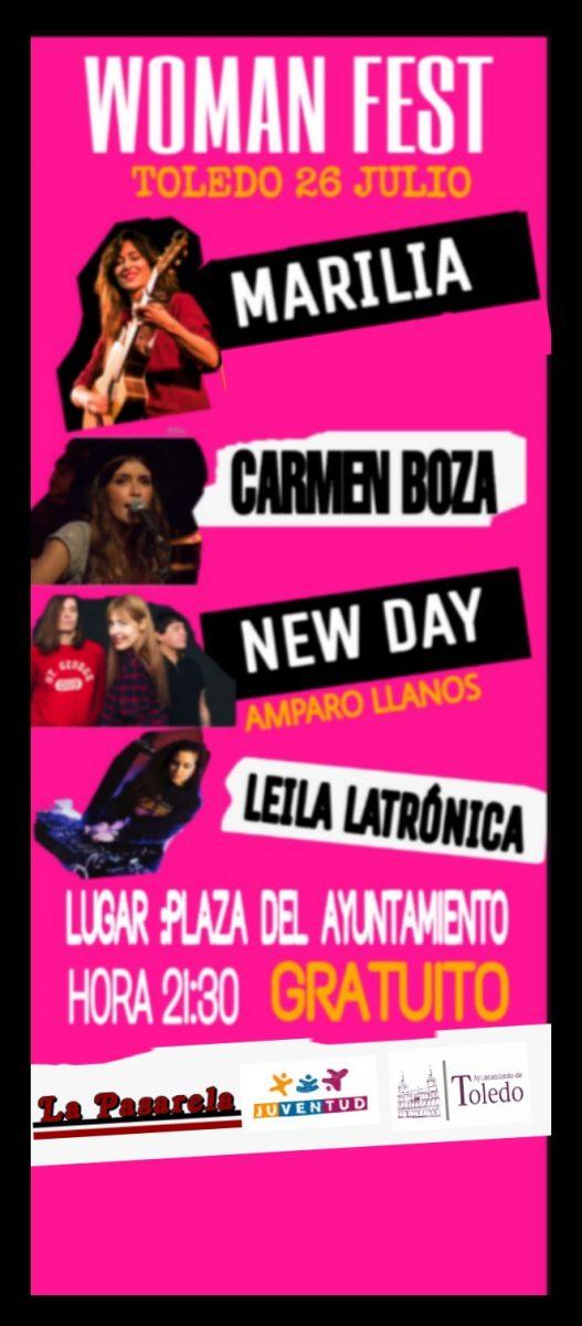 https://www.toledo.es/wp-content/uploads/2019/07/womanfest-527x1200.jpeg. La plaza del Ayuntamiento acoge este viernes el primer Woman Fest, con Marilia, Amparo Llanos, Carmen Boza y Leila Latrónica