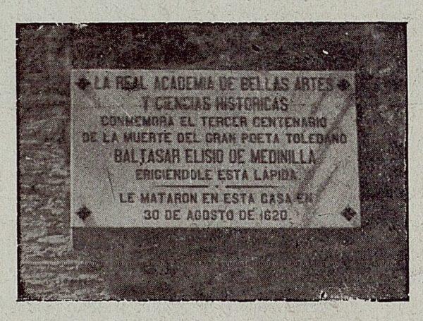 019_TRA-1921-167-Calle Real, casa donde fue muerto el poeta Baltasar Eliseo de Medinilla, placa conmemorativa-Foto Camarasa