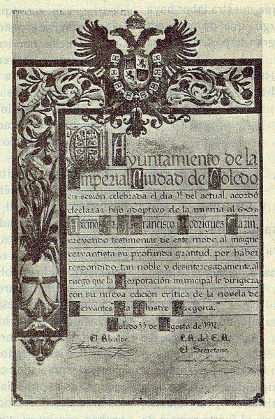 025_TRA-1917-086 - Pergamino por el que se nombra Hijo Adoptivo de Toledo a Francisco Rodríguez Marín