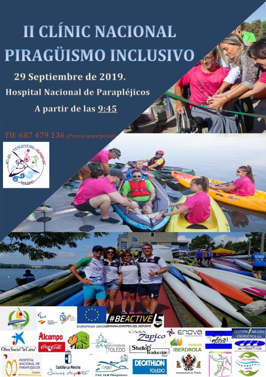 https://www.toledo.es/wp-content/uploads/2019/09/20190929-piragueismo-849x1200.jpg. Semana Europea del Deporte/ II Clinic Nacional de Piragüismo Inclusivo