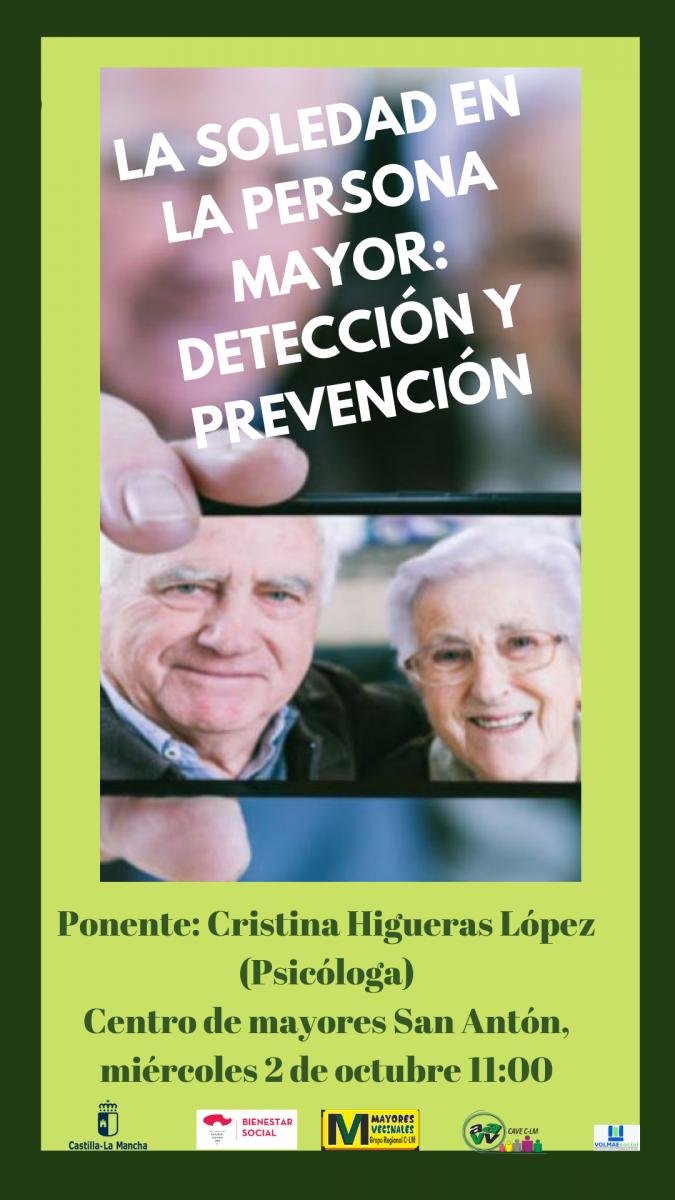 http://www.toledo.es/wp-content/uploads/2019/09/sananton-675x1200.png. Charla: La soledad en el mayor, detección y protección
