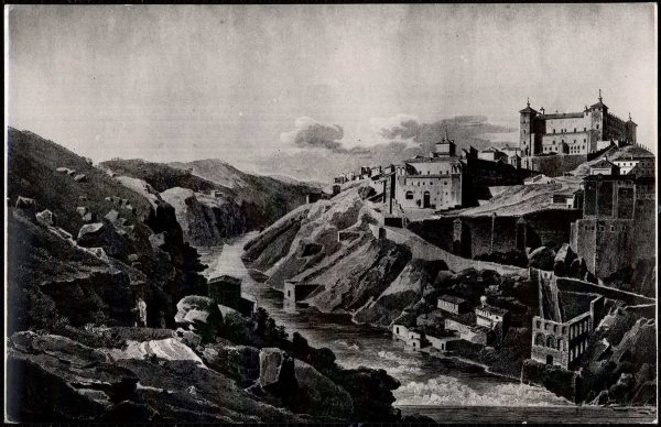 38 - 510 - Toledo - Vista general y el Alcázar antes del asedio. Grabado