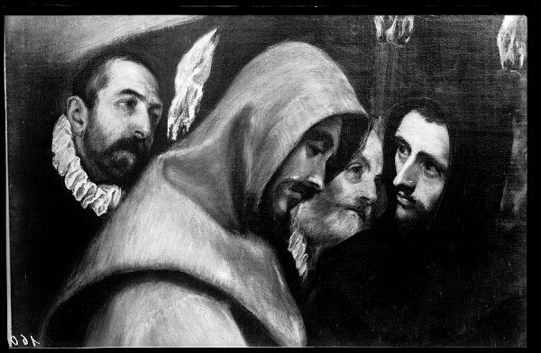 39 - 160 - Toledo - Entierro del Conde de Orgaz. Frailes Agustino y Franciscano (El Greco)
