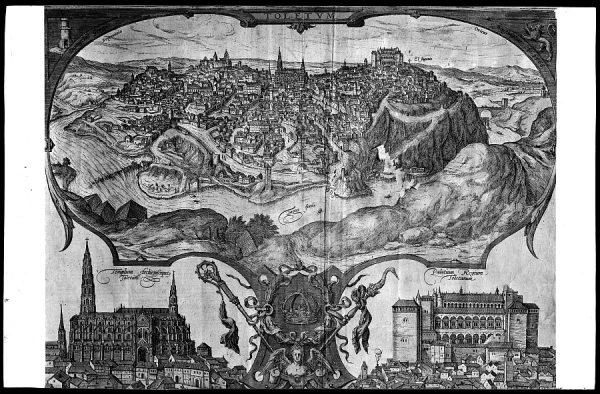 39 - 511 - Toledo - Vista general en el año 1566. Grabado