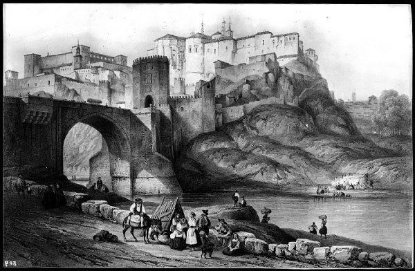 509 - Toledo - Vista general del Alcázar y el puente de Alcántara. Grabado