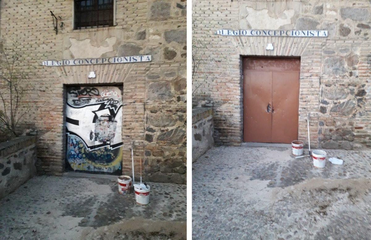https://www.toledo.es/wp-content/uploads/2019/10/d-1200x777.jpg. El Ayuntamiento acomete una limpieza integral de pintadas y basura en la Bajada de Alcántara