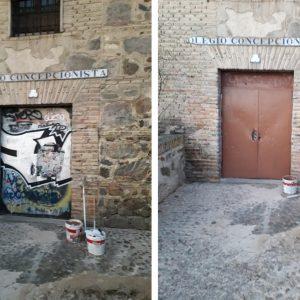 l Ayuntamiento acomete una limpieza integral de pintadas y basura en la Bajada de Alcántara