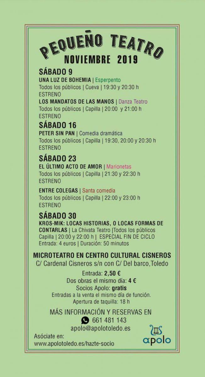 http://www.toledo.es/wp-content/uploads/2019/10/microteatro-apolo-noviembre-2019-652x1200.jpg. Pequeño Teatro: Los mandatos de las manos (Danza Teatro) ESTRENO