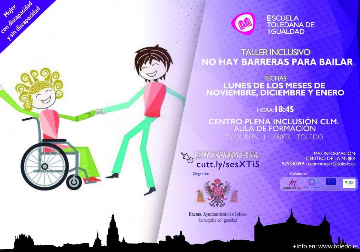 """https://www.toledo.es/wp-content/uploads/2019/10/taller-inclusivo-1200x839.jpg. TALLER INCLUSIVO """"NO HAY BARRERAS PARA BAILAR"""". ESCUELA TOLEDANA DE IGUALDAD."""