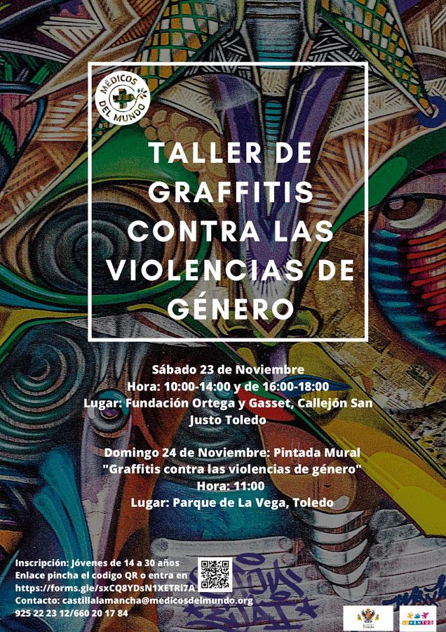 http://www.toledo.es/wp-content/uploads/2019/11/cartel-dn3-gaffiti.jpg. Taller: Graffiti contra las violencias de género