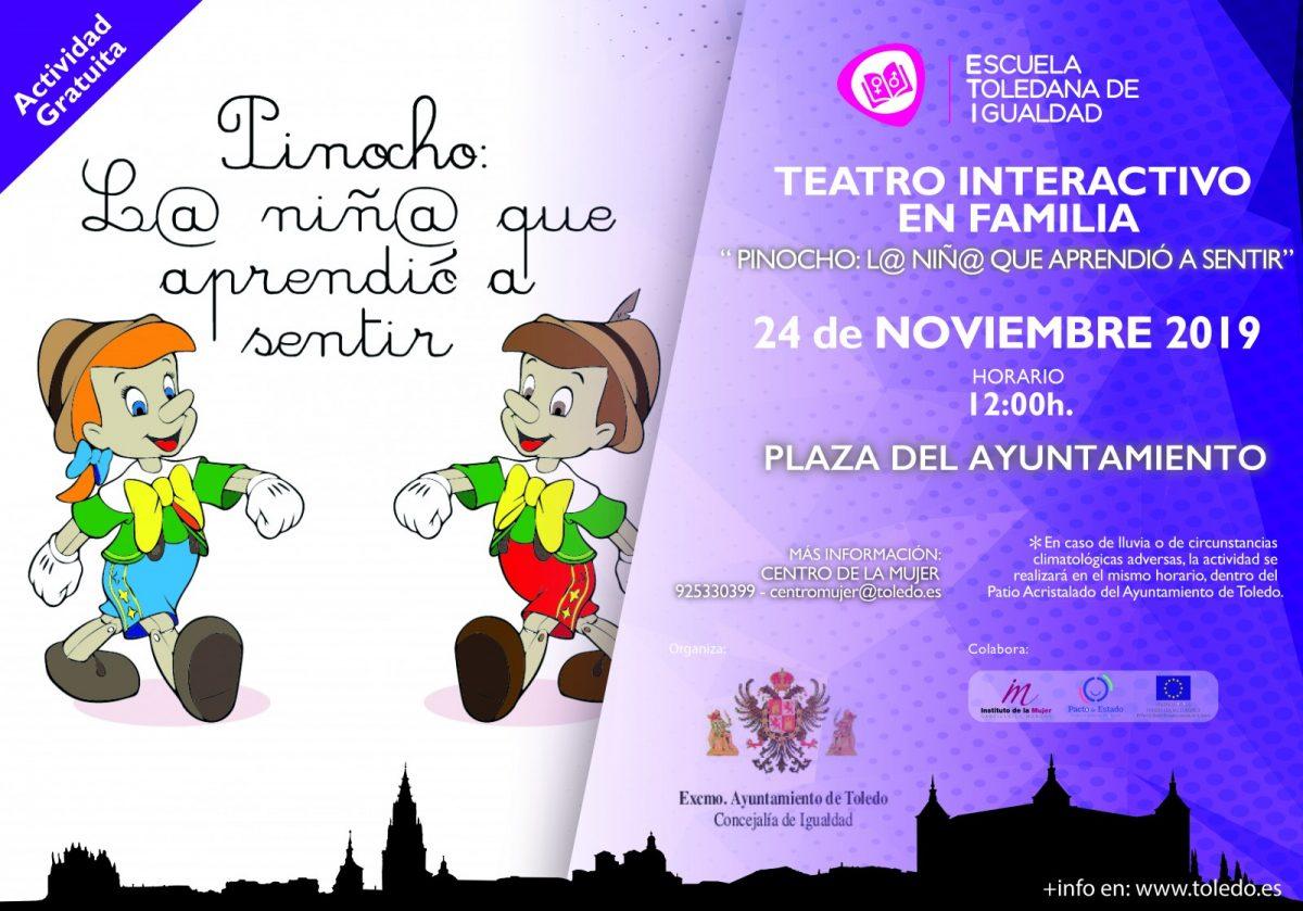 "http://www.toledo.es/wp-content/uploads/2019/11/cartel-teatro-interactivo-1-1200x839.jpg. Teatro interactivo en familia. ""Pinocho: L@ niñ@ que aprendió a sentir"""
