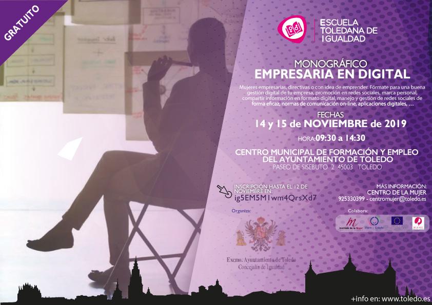 """http://www.toledo.es/wp-content/uploads/2019/11/eti-empresaria-digital-1.jpg. Escuela Toledana de Igualdad: Monográfico """"Empresaria en digital"""""""