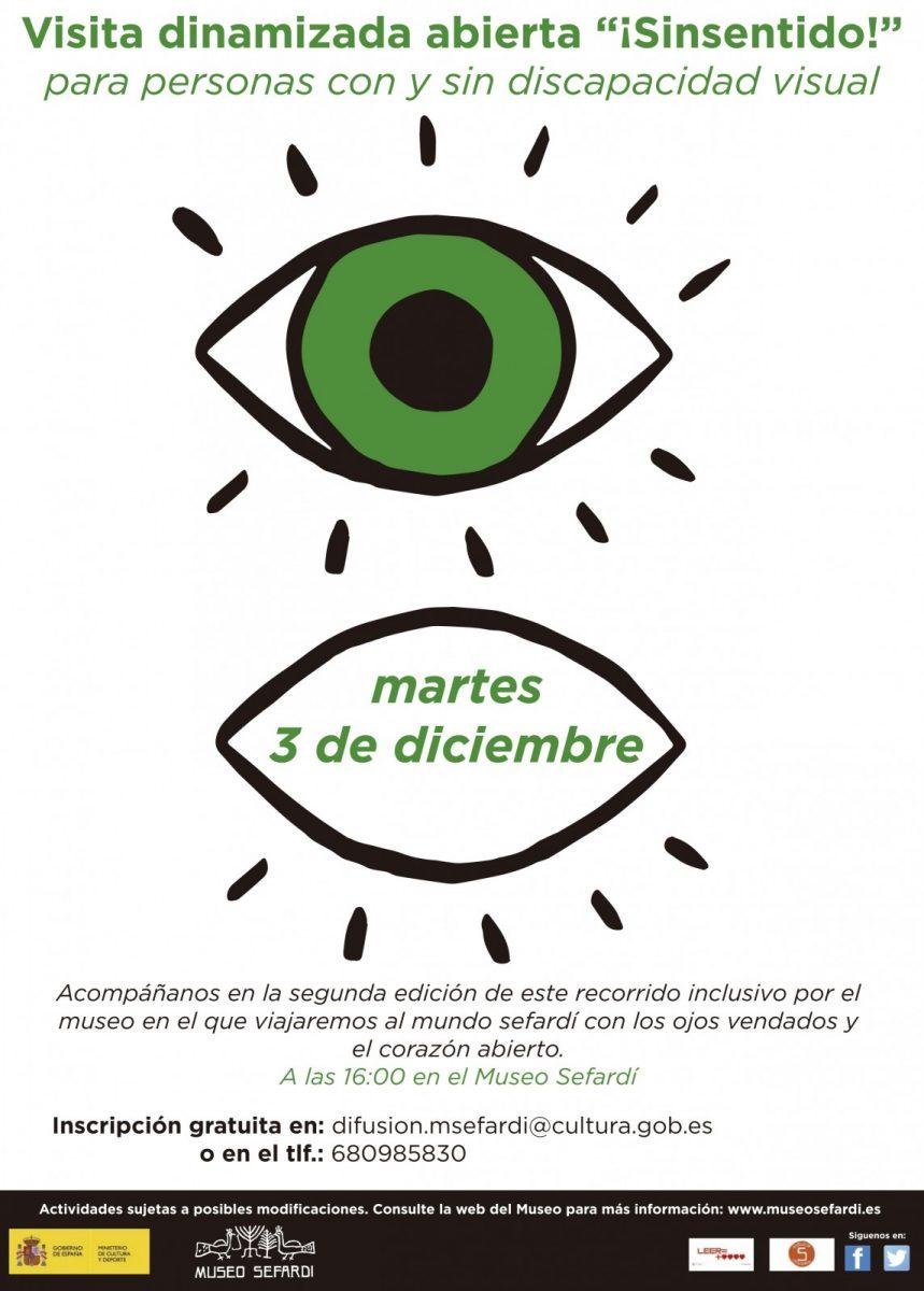 http://www.toledo.es/wp-content/uploads/2019/12/cartel-sinsentido-859x1200.jpg. Taller: ¡Sinsentido!, para personas con y sin discapacidad visual