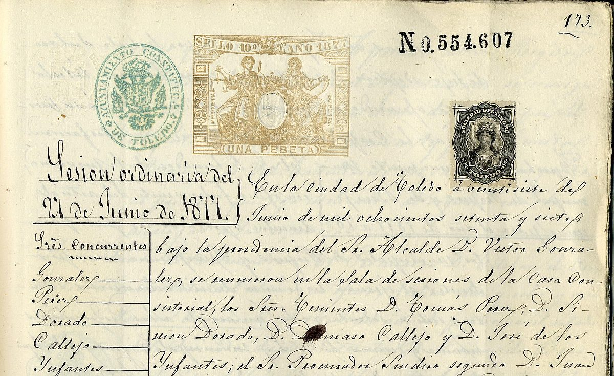 http://www.toledo.es/wp-content/uploads/2020/01/libro-de-actas-de-1877-cuatro-sellos-1200x734.jpg. Todas las actas municipales accesibles en Internet