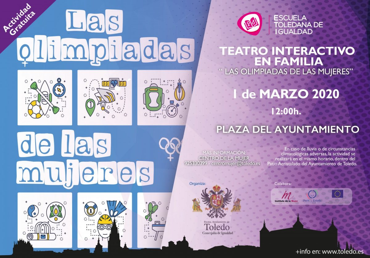 http://www.toledo.es/wp-content/uploads/2020/02/eti-cartel-a3-olimpidas-de-las-mujeres-1200x837.jpg. FEM20. TEATRO INTERACTIVO FAMILIAR. LAS OLIMPIADAS DE LAS MUJERES.