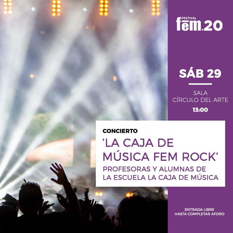 http://www.toledo.es/wp-content/uploads/2020/02/sabado-29-de-marzo-la-caja-de-musica-fem-rock..jpg. Festival FEM 20. Sábado 29 de febrero. La Caja de Música FEM ROCK