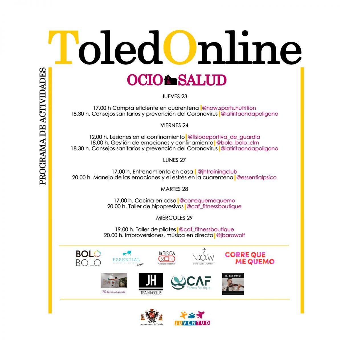 http://www.toledo.es/wp-content/uploads/2020/04/toledonline_version-ok-1-1200x1200.jpeg. El Ayuntamiento lanza nuevas iniciativas en el ámbito del ocio y la salud a través de la programación 'ToledONline' en redes sociales