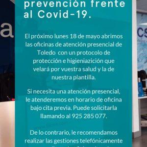 agus reabrirá el lunes sus oficinas de atención presencial con cita previa y un protocolo de prevención frente al Covid-19