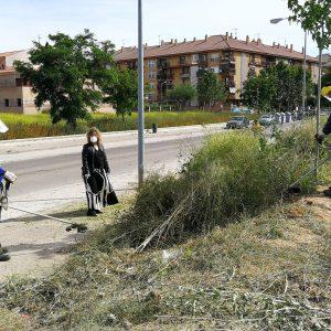l Ayuntamiento continúa con las labores de desbroce en diferentes puntos como el aparcamiento del barrio de Santa Teresa