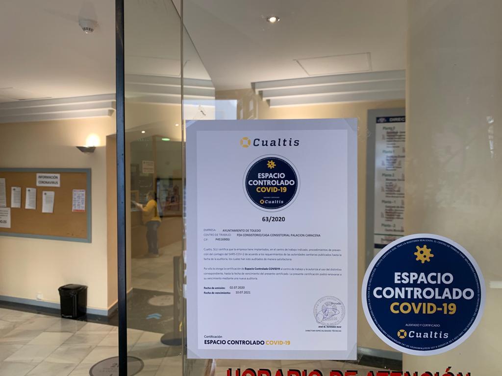 """https://www.toledo.es/wp-content/uploads/2020/07/certificado-covid-01.jpeg. Los centros administrativos del Ayuntamiento de Toledo reciben el """"Certificado de Espacio controlado de Covid-19"""""""