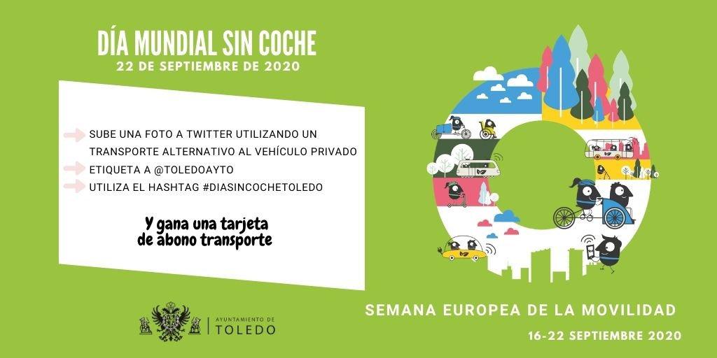 https://www.toledo.es/wp-content/uploads/2020/09/dia-mundial-sin-cohce.jpg. Súmate este 22 de septiembre al #DiaMundialSinCoche y compártelo con  @toledoayto  a través de twitter con una fotografía. Sorteamos tres tarjetas mensuales de abono transporte. Hagamos de Toledo una ciudad más sostenible.