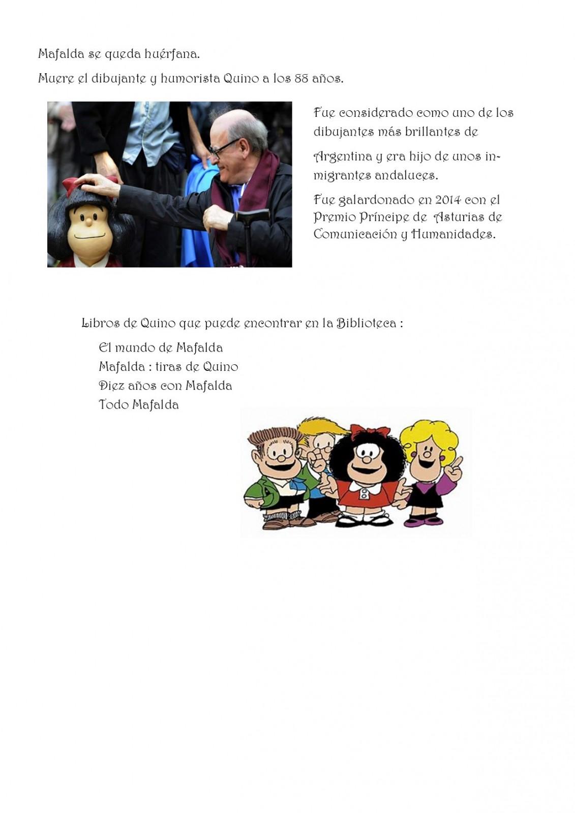 Mafalda se queda huerfana