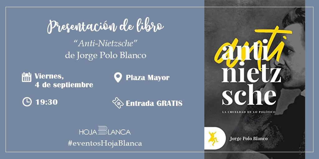 https://www.toledo.es/wp-content/uploads/2020/09/presentacion-libro.jpg. Presentación de libro: ANTI-NIETZSCHE, Jorge Polo Blanco