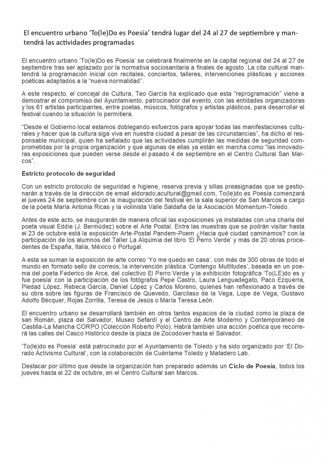 Toledo es poesia Cuerpo noticia