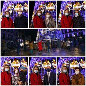 ilagros Tolón inaugura la iluminación de Navidad acompañada por representantes sanitarios que luchan contra el coronavirus