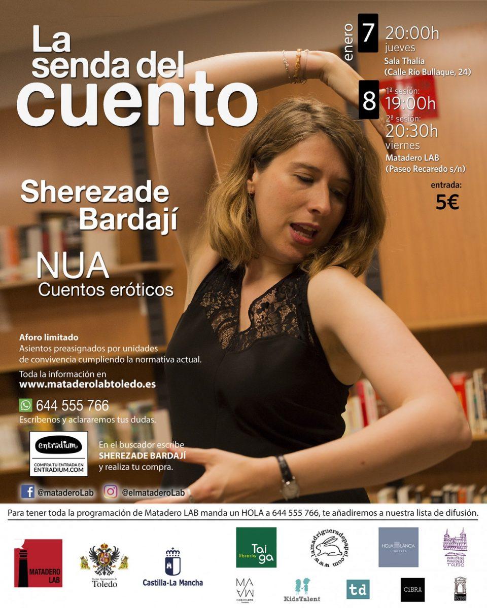 """https://www.toledo.es/wp-content/uploads/2021/01/eneroadultos-960x1200.jpg. Cuentos para público adulto con Sherezade Bardají """"NUA, Cuentos eróticos"""""""