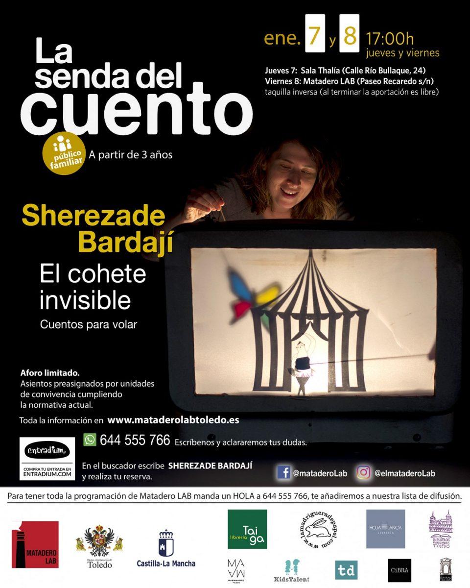 """https://www.toledo.es/wp-content/uploads/2021/01/eneroinfantil-960x1200.jpg. Cuentos para público familiar con Sherezade Bardají """"El cohete invisible, cuentos para volar"""""""