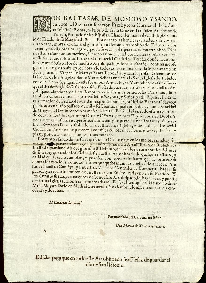 https://www.toledo.es/wp-content/uploads/2021/01/san-ildefonso_toledo.jpg. El Archivo Municipal documenta la defensa de la celebración de San Ildefonso emprendida por el Ayuntamiento en el año 1652