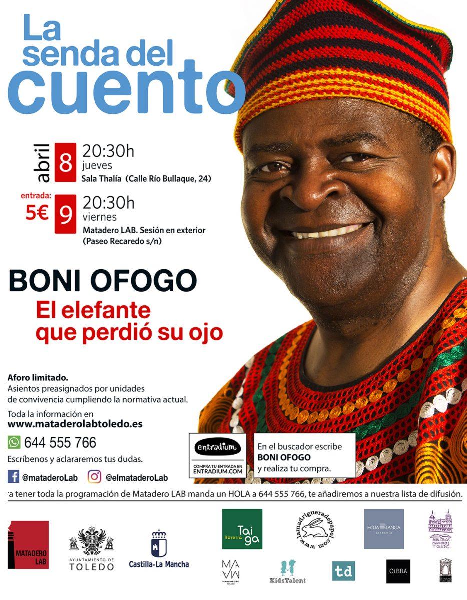 """https://www.toledo.es/wp-content/uploads/2021/03/boni-ofogo-matadero-lab-redes-933x1200.jpg. """"El elefante que perdió su ojo"""" – Cuentos para adultos con Boni Ofogo"""
