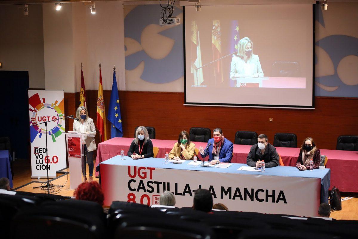 https://www.toledo.es/wp-content/uploads/2021/03/congreso_ugt_10-1200x800.jpg. Milagros Tolón traslada a UGT su apuesta por el diálogo social y la unidad para impulsar la recuperación social y económica