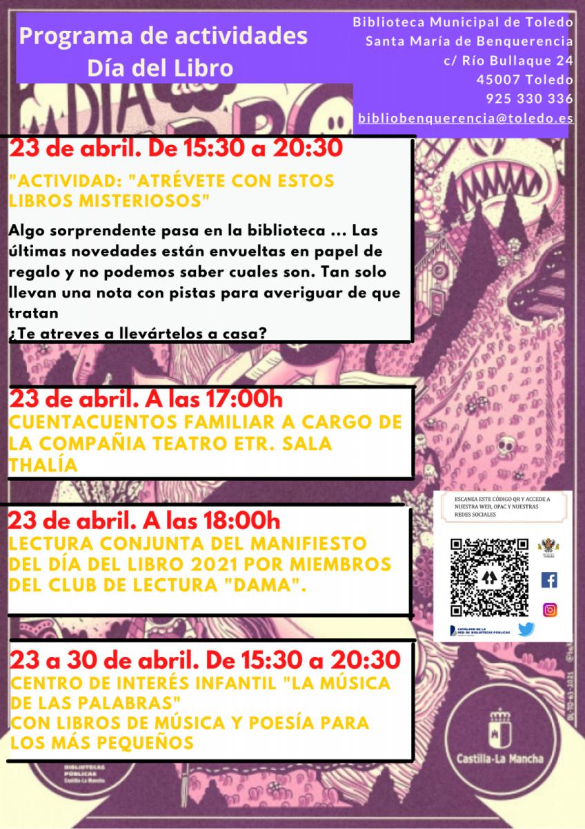 https://www.toledo.es/wp-content/uploads/2021/04/actividades-programacion-848x1200.png. Programa de actividades para el Día del Libro en La Biblioteca Municipal de Santa María de Benquerencia.