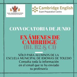 onvocatoria exámenes de Cambridge junio (Escuela Municipal de Idiomas de Toledo)