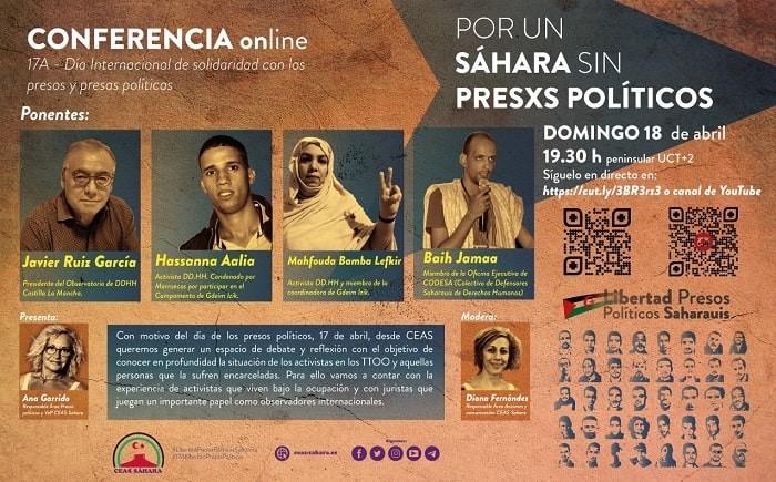 """https://www.toledo.es/wp-content/uploads/2021/04/cartel-jornadas.jpg. Conferencia online: """"POR UN SÁHARA SIN PRESXS POLÍTICOS"""""""""""