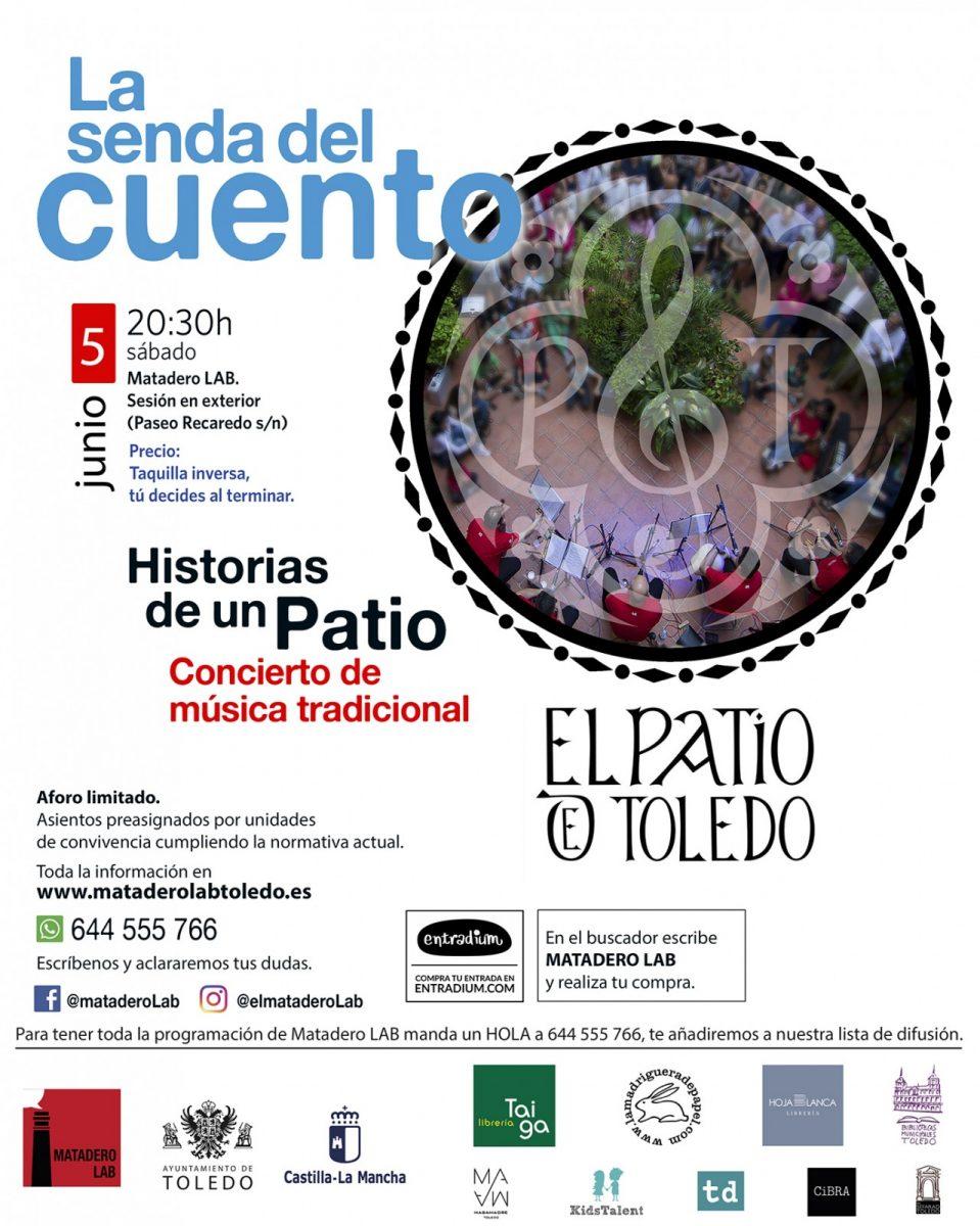 """https://www.toledo.es/wp-content/uploads/2021/05/grupo-el-patio-matadero-lab-senda-del-cuento-959x1200.jpg. LA SENDA DEL CUENTO – Concierto de música tradicional """"Historias de un  Patio"""""""