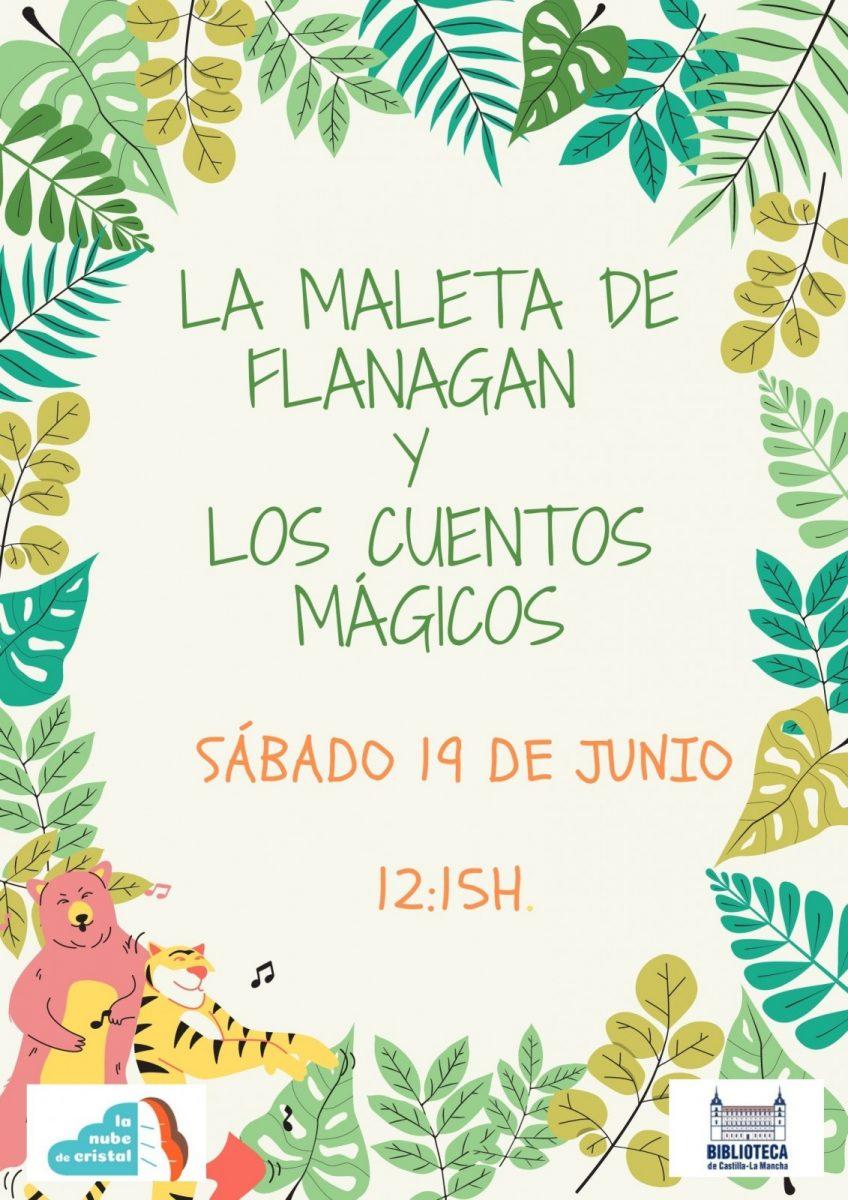 https://www.toledo.es/wp-content/uploads/2021/05/maleta_19_de_junio_sabado-848x1200.jpg. Cuentacuentos de La maleta de Flanagan, con Ana de la Nube