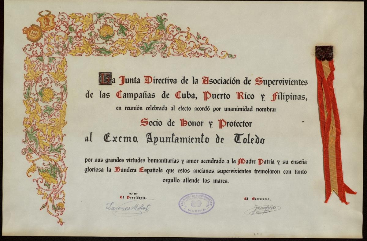 https://www.toledo.es/wp-content/uploads/2021/06/1969-ca-socio-de-honor-y-protector-de-asociacion-de-supervivientes-de-las-campanas-de-cuba-puerto-rico-y-filipinas-1.jpg. Nueva exposición: Títulos y otros diplomas toledanos (1782-2019)