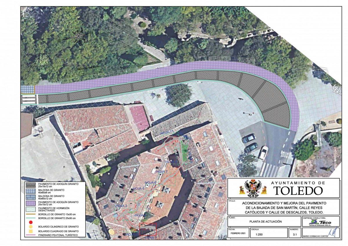 https://www.toledo.es/wp-content/uploads/2021/08/planos-reyes-catolicos_pagina_01-1200x848.jpg. La calle Reyes Católicos mantendrá el servicio de autobús urbano y las paradas establecidas en esta vía pública tras su remodelación